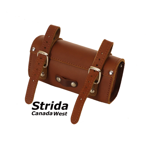 Strida Brown Leather Saddle Bag detail