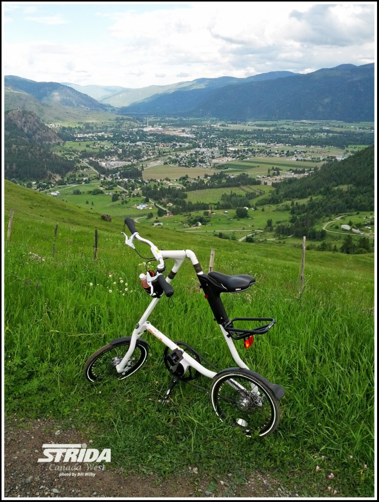 The white Strida EVO hill climbing on Hardy mountain with the valley in the background.