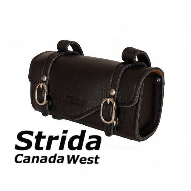 Strida Black leather saddle bag