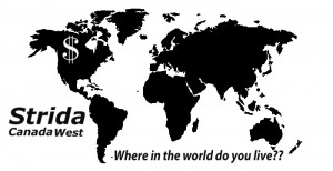 World Map (Strida Canada's Strida pricing in other currencies)