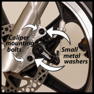 Mounting bolts for the Strida brake caliper (Strida Brakes Explained)