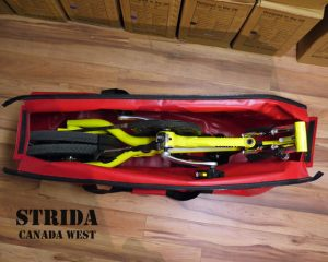 Strida Custom Bike Bag open top view (Custom Strida Travel Bag Makes Air Travel Easy)